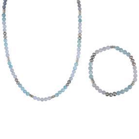 Set Collier+Armband Chalzedon, Aquamarin