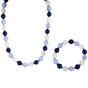 Set Collier + Armband, Lapis/Quarz