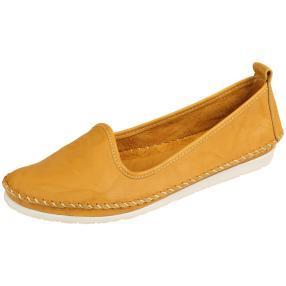 Andrea Conti Damen Leder-Slipper gelb