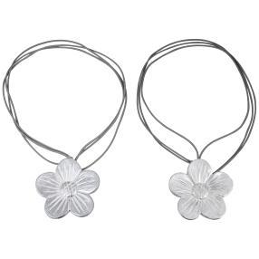 Gardinenhalter Blume silber 2er-Set mit Magnet