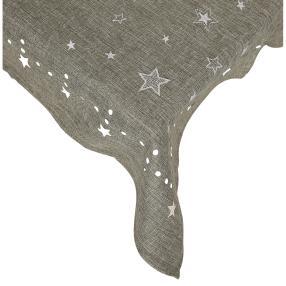 Mitteldecke Weihnachten 'Sterne', grau-weiß