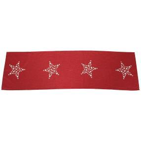 Tischläufer 4 Sterne rot 40x140