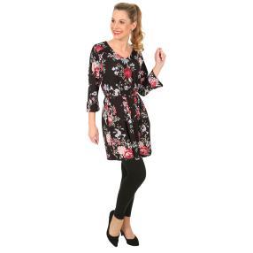 Damen Kleid/Tunika 'Blumenmeer' schwarz/multicolor