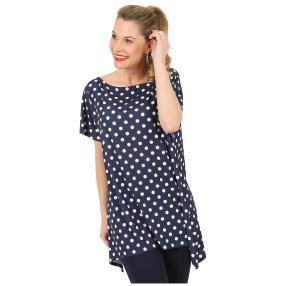 Damen Shirt 'Polka Dots' dunkelblau/weiß