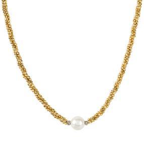 Collier Pyrit gold Muschelkernperle weiß