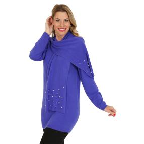 Cashmerelike by BLUE SEVEN Pullover, Perrlen, blau