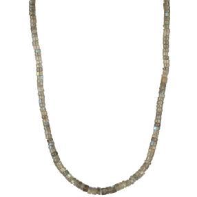 Collier Labradorit grau, 925 Silber vergoldet