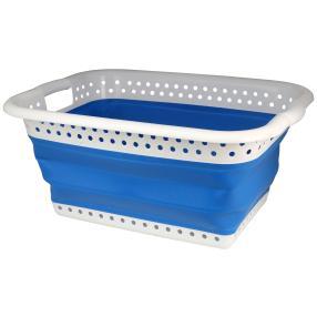 Wäschekorb faltbar weiß-blau 61x45x27cm