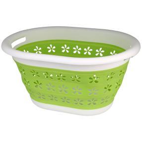 Wäschekorb faltbar weiß-grün 50x38x27cm