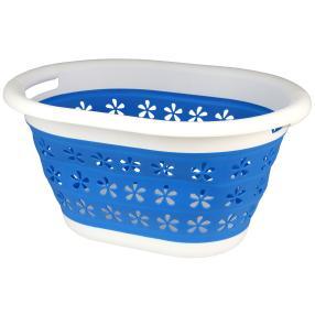 Wäschekorb faltbar weiß-blau 50x38x27cm