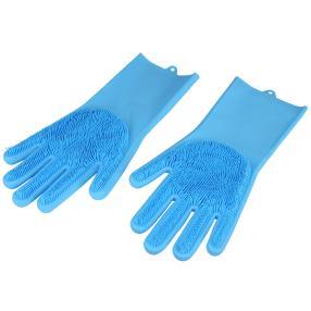 Silikon Reinigungshandschuhe 2-teilig, blau