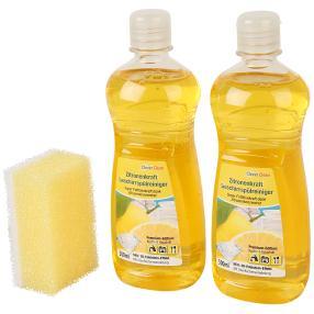 Zitronenkraft-Geschirreiniger 2 x 500 ml + Schwamm