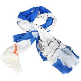 IL PAVONE Schal, blau, silber, weiß