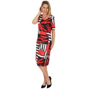 FASHION NEWS Damen-Kleid 'Auzas' schwarz/weiß/rot