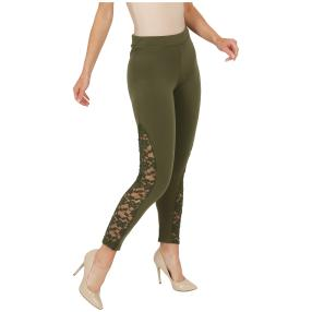 FASHION NEWS Damen-Leggins mit Spitze, oliv