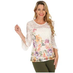 FASHION NEWS  Damen-Shirt, Spitze, multicolor,weiß