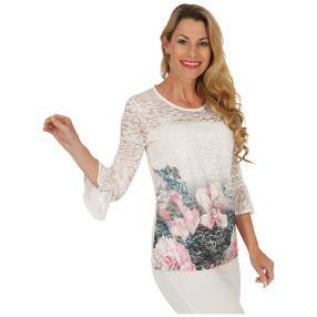 FASHION NEWS  Damen-Shirt, Spitze, Blumenprint