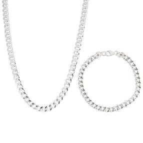 2-teiliges Set 925 Sterling Silber Armband Kette