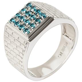 Ring 950 Platin Brillanten blau, ca. 0,54 ct.