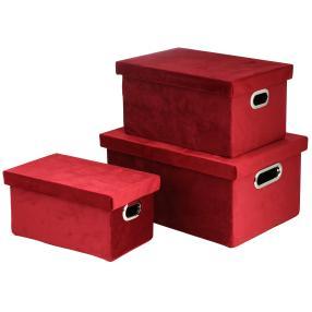 Samtbox mit Deckel 3-tlg. bordeaux rechteckig