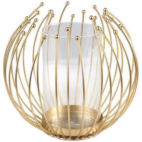 Kerzenhalter Gitterkugel gold metall