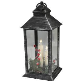 LED-Laterne schwarz, mit Kerzen