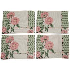 Gobelin-Platzset Blumen, 4-teilig, grün-rosé