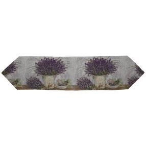 Gobelin-Tischläufer Lavendel beige-lila