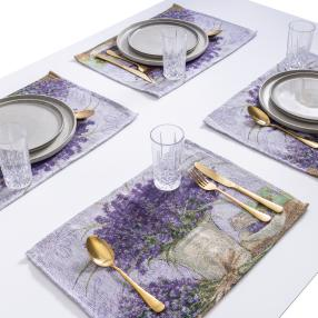 Gobelin-Platzset Lavendel 4tlg. beige-lila
