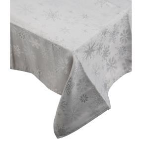 Tischdecke Schneekristalle, Lurex silber