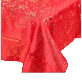 Tischdecke festlich, Lurex rot/gold