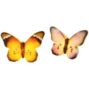 LED-Kerze Schmetterling 2tlg. flieder-gelb