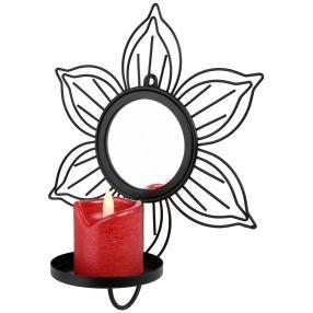 LED-Kerze mit Wandhalter  schwarz-rot