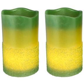 LED-Kerze grün, 2-teilig