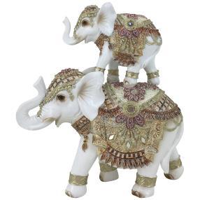 Dekofigur Elefanten gold-weiß