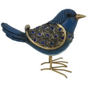 Dekofigur Vogel blau-gold