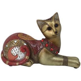 Dekofigur Katze liegend rot-gold