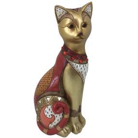 Dekofigur Katze sitzend rot-gold