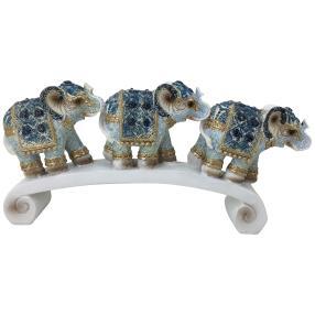 Dekofigur Elefanten blau-weiß