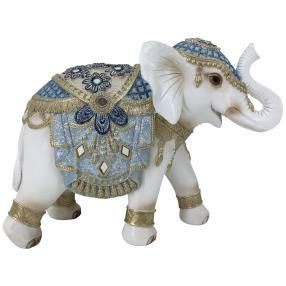 Dekofigur Elefant blau-gold