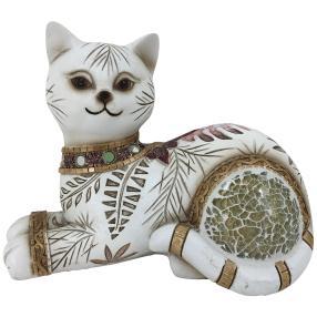 Dekofigur Katze liegend creme-braun