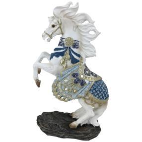 Dekofigur Pferd blau-weiß