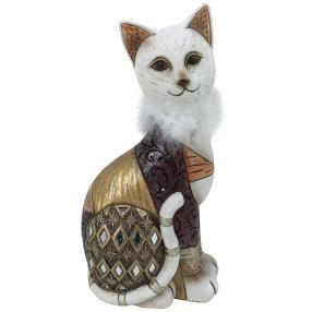 Dekofigur Katze braun-gold sitzend