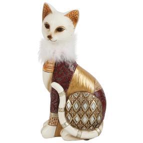 Dekofigur Katze braun-gold sitzend groß