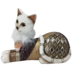 Dekofigur Katze braun-gold liegend
