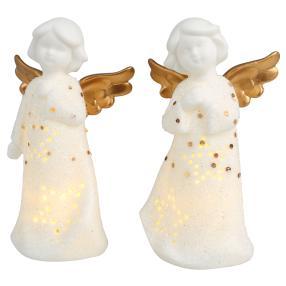Ceramico LED-Engel weiß-gold 2tlg.