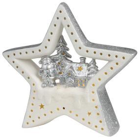 Ceramico LED-Stern weiß-silber
