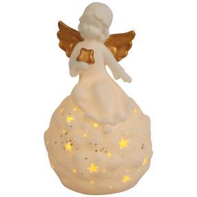 Ceramico LED-Kugel Engel weiß-gold