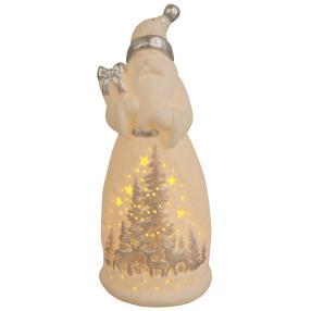Ceramico LED-Weihnachtsmann weiß-silber