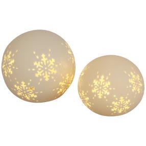 Ceramico LED-Kugel Schneeflocke 2er-Set weiß